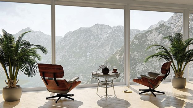 Relaxing view over mountains